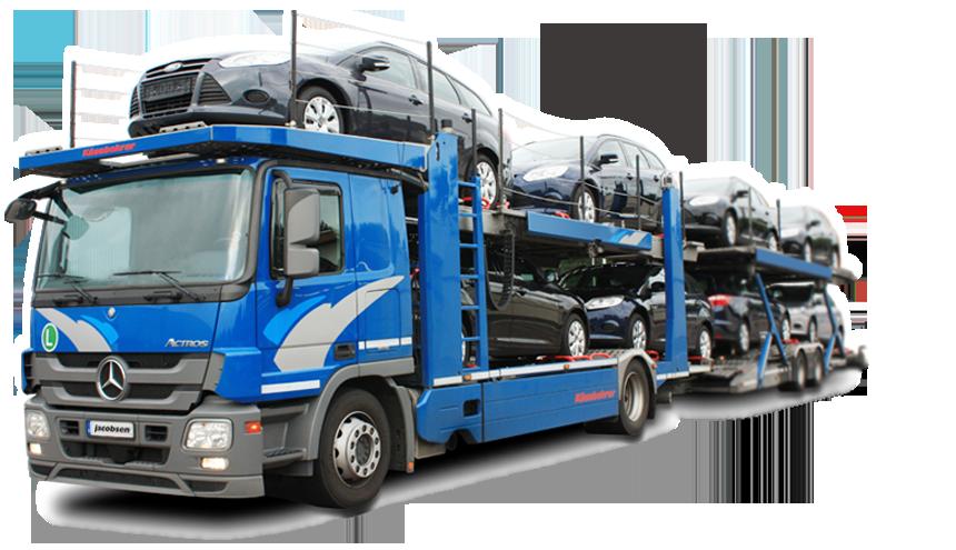 Einer von vielen Autotransportern aus der Flotte von Jacobsen Fahrzeugtransportervermietung